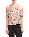 Juniors Cold Shoulder Daisy Floral Top