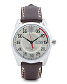 Men's D50 Stainless Steel Leather Strap Watch