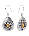 Made In India Sterling Silver Teardrop Gemstone Earrings