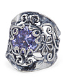 Made In Israel Sterling Silver Cubic Zirconia Scroll Ring
