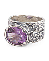 Made In Israel Sterling Silver Scrolly Amethyst Ring