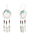 Made In Thailand Sterling Silver Turquoise And Coral Multi Feather Earrings