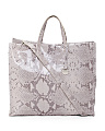 Made In Italy Leather Shiny Python Tote