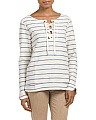 French Terry Striped Lace Up Top