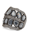Made In Turkey Sterling Silver Cracked Cubic Zirconia Multi Row Ring