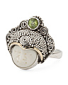 Sterling Silver And 14k Gold Peridot Carved Face Ring