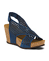 Made In Italy Perforated Suede Wedges