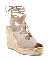 Made In Spain Suede Lace Up Wedges