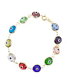 Made In Turkey Sterling Silver Multi Color Evil Eye Bracelet