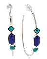 Made In Thailand Sterling Silver And Turquoise And Lapis Hoop Earrings