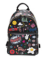 Made In Italy All Over Sticker Leather Backpack