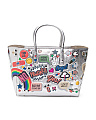 Made In Italy Small All Over Sticker Leather Tote