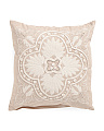 20x20 Embroidered Floral Medallion Pillow