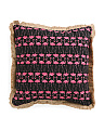 20x20 Indoor Outdoor Flamingo Pillow With Fringe