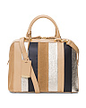 Made In Italy Multi Stripe Leather Dome Bag