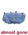 Made In Italy Ruffled Baguette Leather Shoulder Bag