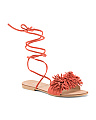 Made In Italy Ankle Lace Suede Sandals