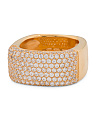 Gold Tone Sterling Silver Pave Square Ring