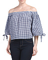 Juniors Off The Shoulder Bubble Gingham Top