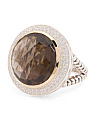 Made In Thailand Silver And 14k Gold Smoky Quartz Large Ring