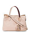 Made In Italy Metallic Tassel Leather Satchel