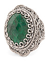 Made In Turkey Sterling Silver Green Corundum Filigree Ring