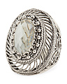 Made In Turkey Sterling Silver Prasiolite Filigree Ring