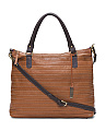 Made In Italy Multi-stitch Leather Satchel