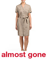 Short Sleeve Linen Shirt Dress