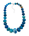 Sterling Silver Blue Agate Necklace