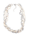 Sterling Silver Pearl 4 Row Torsade Necklace