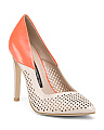 Perforated Colorblock Leather Pumps