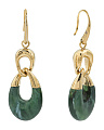 Green And Gold Tone Drop Earrings