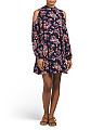Juniors Cold Shoulder Floral Printed Dress