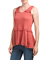 V Neck Swing Tank With Lace Detail