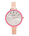 Women's Pink Bezel Rose Gold Tone Mesh Strap Watch