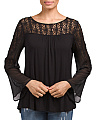 Lace Yoke Sheer Bell Sleeve Top