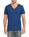 V Neck Solid Slub Tee