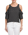 Juniors Polka Dot Cold Shoulder Top