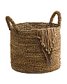 Large Seagrass Basket With Fringe