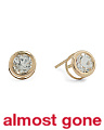 Made In USA 14k Gold White Topaz Stud Earrings