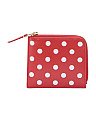 Made In Spain Mini Polka Dot Printed Leather Zip Wallet