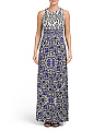 Pleated Printed Border Maxi Dress