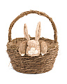 Straw Handled Basket With Bunny