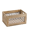 Small Metal Lattice Wood Bin