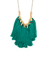 Gold Tone Rhodium And Eden Green Fringe Monster Necklace