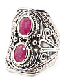 Made In India Sterling Silver Double Gemstone Ring