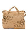 Made In Italy Floral Motif Leather Satchel
