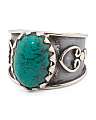 Made In India Sterling Silver Gemstone Open Band Ring