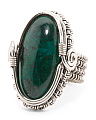 Made In India Sterling Silver Oval Gemstone Ring